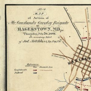 Map of action of McCausland's Cavalry Brigade at Hagerstown, Md., Thursday, July 7th, 1864.